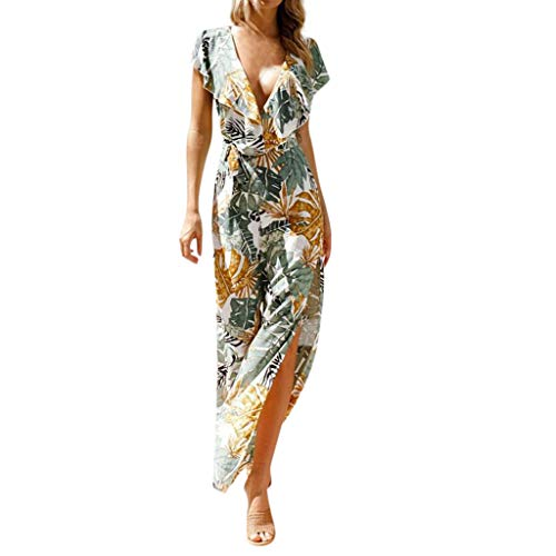 Jumpsuit kurz Womens Leaves Print V-Neck Halter Sleeveless Ruffled One-Piece Trousers Jumpsuit Grün XL White Ruffled Top Outfit