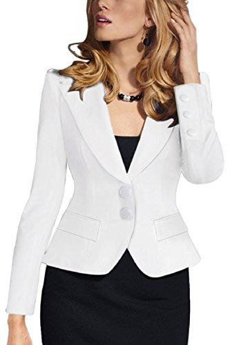 Frauen Elegante Zwei - Knopf Anzüge Tops Outwear Jacken Blazer Mantel White M (Weißes Kleid Anzüge)