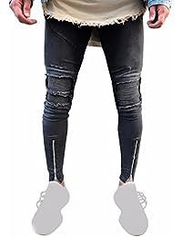4ab39ae9c3fcf Pantalones de Hombre Moda Ripeado Ajustado Motocicleta Vendimia Derecho Pantalones  Vaqueros Hip Hop Ropa de Calle