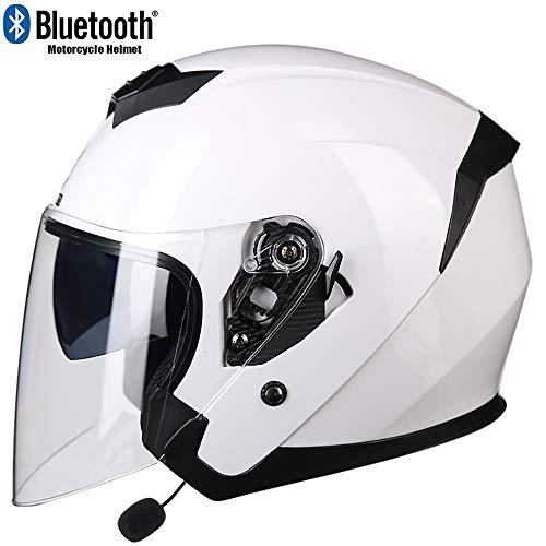 MTTKTTBD Bluetooth Casco Jet Moto,ECE Omologato,Unisex Casco Moto con Anti-Fog Doppia Visiera,Adulto Casco Cross off-Road con Microfono Incorporato per Risposta Automat