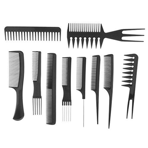 Gazechimp Kit de 10pcs Peigne Anti-statique de Pro Salon de Coiffure Brosse de Cheveux Démêlant en Style Noir