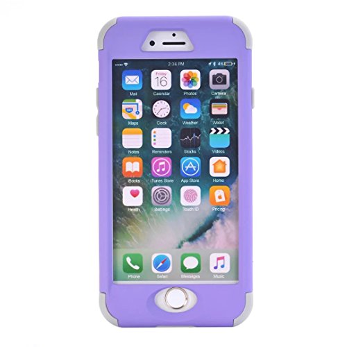 iPhone 7 Hülle,Lantier mattiert Matt Finish Design Angel Eyes Serie Durable 3 in 1 kombiniert Dual Layer Hybrid schlanke schockfesten Defender Cover für Apple iPhone 7 4,7 Zoll Rosen Gold+Rosa Purple+Grey