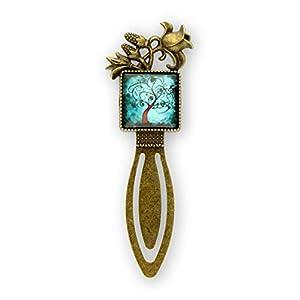Buchzeichen * Lesezeichen mit Glas Cabochon Quadrat 20 mm Motiv Baum in türkis, schwarz * Fassung Metall bronzefarben *