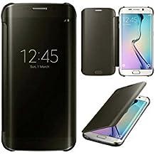 Funda Galaxy S6 EDGE Plus Clear Cover Semi Opaque Carcasa rigida Flip Con Tapa Resistente [Full clear] - Color Negro - Ordica France®