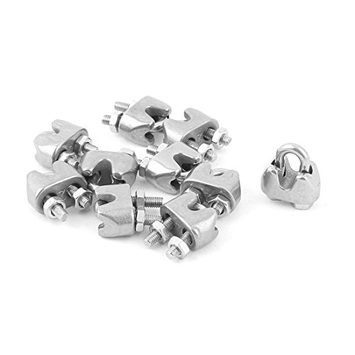 sourcingmap® 3mm 1/8 Inch Stainless Steel Wire Rope Cable Clamp Fastener 10pcs Test