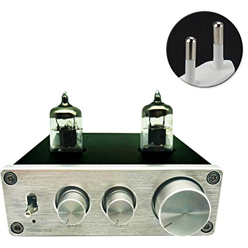 Matedepreso Pre-Amplifier Mini Hi-Fi Stereo Buffer Preamp 6J1 Valve &  Vacuum Pre-amp Digital Treble & Bass Tone Control for Home Theater