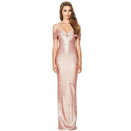ZHANGZHIYUA Frauen Kleid ärmelloses Abendkleid V-Ausschnitt Pailletten Lange Prom Formale Meerjungfrau Kleider,B,M (Abendkleider Für Zierliche Frauen)