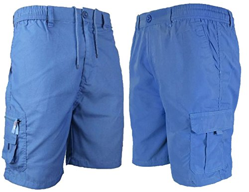 Mens Plain Cargo Summer Shorts Pure 100% Cotton Combat Phone Sizes M L XL XXL New (Xlarge, Blue)
