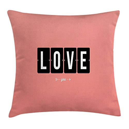 Love Throw Pillow Cushion Cover, It's Love O'clock Mechanical Clock Text Arrows Vintage Valentine's Illustration, Decorative Square Accent Pillow Case, 18 X 18 inches, Coral Black White White Square Clock