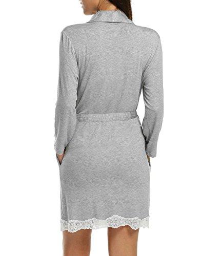 cooshional Donna pigiama vestaglie pizzo con cintura collo con risvolto tunica Grigio