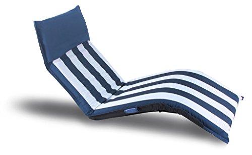 Trendyshop365 - Luxus Strandliege Outdoorliege/185x60x10cm/mehrfach verstellbar/blau-weiß