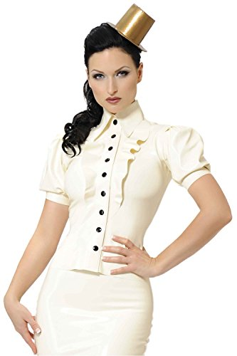 48266bc7db Westward Bound Carnivale le Latex Rubber Shirt. White with Black Trim. UK  14.