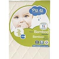 P'tit Lit - Matelas bébé Bamboo - Viscose Absorbante Douce Respirante - Premium - Déhoussable - Fabrication française