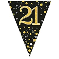 Hi Fashionz Black Gold Sparkling Fizz Birthday Party Holographic Bunting 11 Flags 3.9m 21st Ages