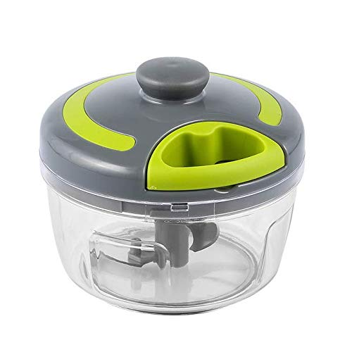 Vakiko Picadora de Verduras Manual,Procesador de Alimentos de Mano con 500 ML BPA-Libre Bowl y Cuchillas Removibles Licuadora De Frutas, Vegetales, Hierbas