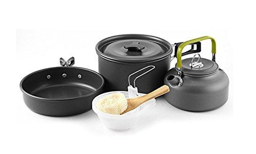 Qtiwe 10-Teilig Cookware Kit Picknick Töpfen Kochgeschirr Campinggeschirr Set für 2-3 Personen Zum Camping Outdoor Wandern Picknick BBQ, Fda Zertifiziert (2-3 Personen)