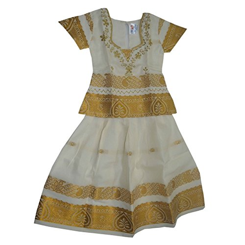 Mysilksaree Girls Kerala Frock White (Kcdcww7 6-7 Years)