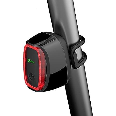 YaPeach Inteligente Bicicleta Luz Trasera, Meilan X6 LED bicicleta luz trasera, movimiento / sensor de luz encendido / apagado automático inteligente USB recargable Streamline Luz de la bici de BMX, Bicicleta de montaña, camino de la bicicleta, bicicleta híbrida, del crucero de bicicletas (Negro,