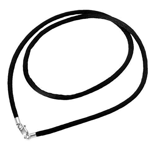 HOUSWEETY Choker / Collier / Ras du Cou Cordon Corde Coton Rond avec Fermoir Argent 925/1000 pour Femme
