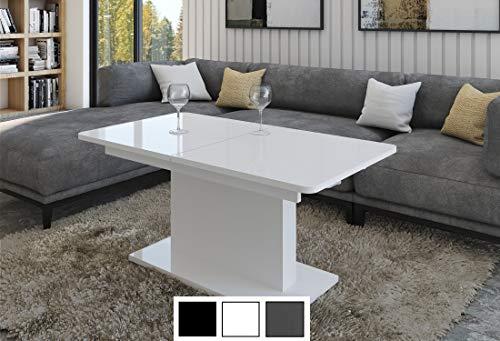 Design Couchtisch Tisch DC-1 Weiß Hochglanz stufenlos höhenverstellbar ausziehbar Esstisch
