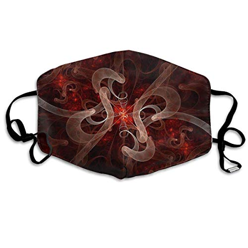 Price comparison product image Monicago Unisex Unique Mouth Mask,  Face Mask,  Abstraction Bloom Red White Fractal Polyester Anti-dust Masks - Fashion Washed Reusable Face Mask for Outdoor Cycling