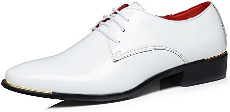 Tufanyu Formale Oxfords der Männer PU Patent Leder Niedrige Block Ferse schnüren Sich Oben Loafer Schuhe Große