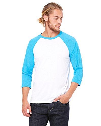 Bella+Canvas: Triblend 3/4 Sleeve Baseball T-Shirt 3200, Größe:XS;Farbe:White/Neon Blue (Baseball-t-shirt Bella)