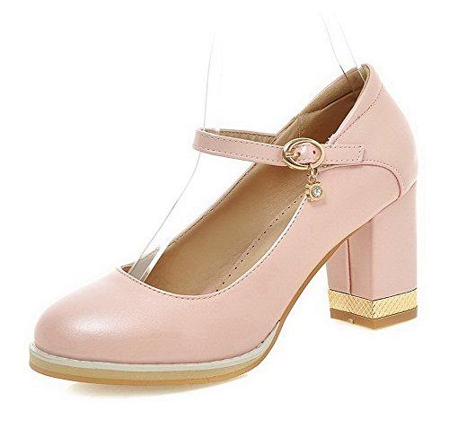 Matière VogueZone009 Souple Rose Boucle Couleur Légeres Unie Chaussures Femme Rond H7Hq5