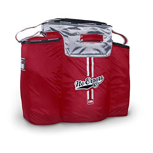 No Errors Coaches Ball Buddy Baseball Coaches Bag - Heavy Duty Baseball Equipment Bag für Trainer mit integriertem Kühler - für 6 Liter Bälle und Coaching Equipment, rot