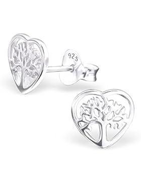 SILV Lebensbaum Ohrstecker Herz Form - 925 Silber Ohrringe Baum des Lebens 7x7mm #SV-132