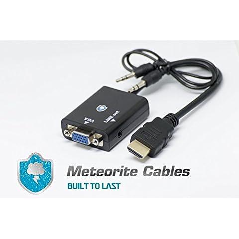 Meteorito Cables [30días garantía] HDMI a VGA con conversor de audio cable adaptador para PC sobremesa Portátiles Alimentación, Raspberry Pi, MHL apoyo–Negro