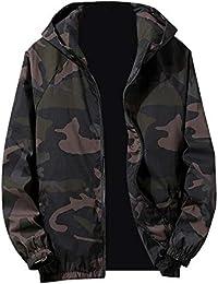 TEBAISE Herren Windbreaker Camouflage Übergangs Jacke Regenjacke Kapuze Camo