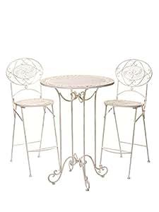 Salon De Jardin 1 Table Haute Et 2 Chaises De Bar Style Antique Blanc Jardin