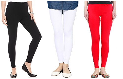 FashGlam Premium Ankle Length Leggings Combo - Black,White,Red