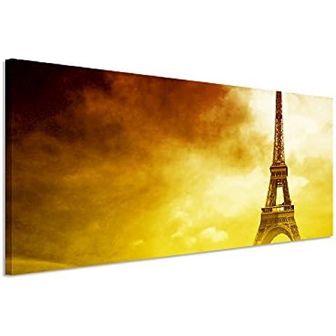 150 x 50 cm mural - immagine panoramica su vuoto tela strada Torre Eiffel - Torre Panoramica