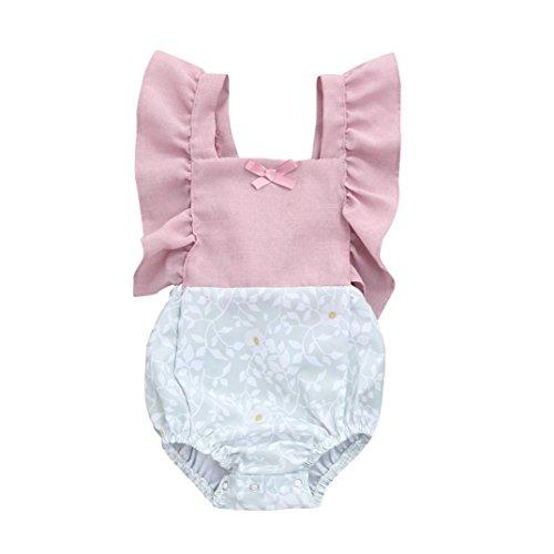 Sunnywill Baby Bekleidung Baby Jungen Mädchen Strampler Blumendruck Rüschen Patchwork Overall...