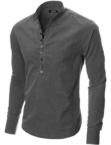 MODERNO - Freizeit Langarm Herrenhemd (MOD1431LS) Dunkelgrau