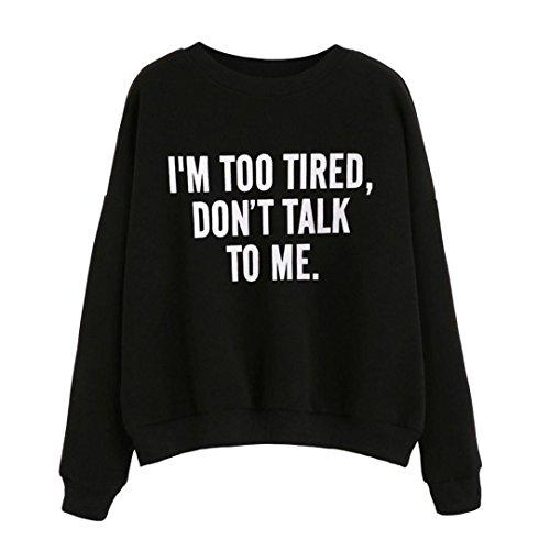 Ouneed® Sweat- Shirt Sweater Imprime Lettres sans capuche Noir