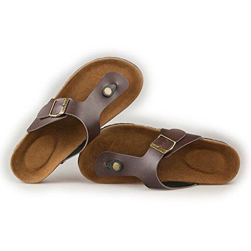 TOOGOO(R) Nuovi piani in sughero sandali uomini e donne flip flops estivi scarpe casuali unisex scarpe dimensioni 5 bianco Marrone