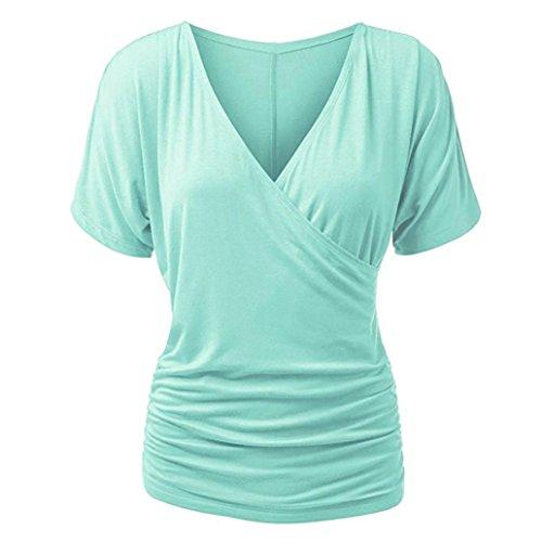 ESAILQ Damen Lange ausgefallene schwarzes weißes schöne günstig Marken t Shirts Damen Shirt v Ausschnitt Baumwoll Frauen Basic weißes Oberteile