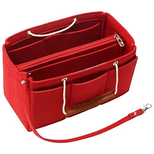 Soyizon Filztasche Organizer Insert Handtasche passt LV Speedy 30-40, Handtasche Organizer Insert für Tote mit Griffen Schlüsselbund (groß, rot) (Marke Taschen Louis Vuitton)