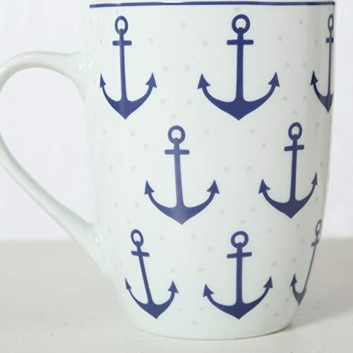 Bloominghome Tasse mit Henkel Porzellan 330ml Anker gepunktet Kaffeebecher