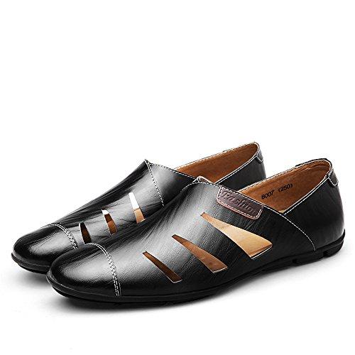 Männer leichte Slip-On Casual Schuhe Herren Perforiert Mokassins Schwarz