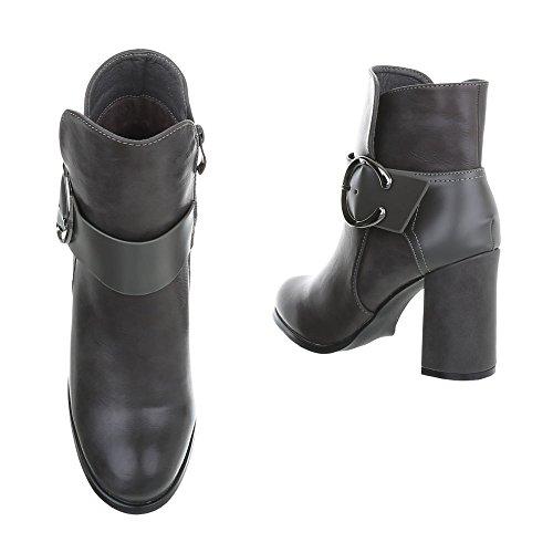 Ital-Design High Heel Stiefeletten Damenschuhe Schlupfstiefel Pump Moderne Reißverschluss Stiefeletten Grau 77-1