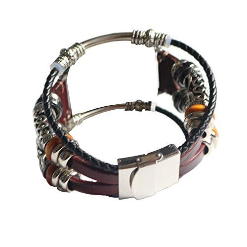 Vamoro Ersatz Leder Armband Band Armband Vintage Uhrenarmband Ersatz Uhren-Armband Uhrenarmband Uhrenarmbänder für Apple Watch Series 4 40mm(Wine)