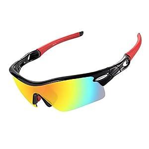 VILISUN Gafas de Sol Deportivas Polarizadas, 100% TR90 UV400,con 5 Lentes de Cambios, Montura de Metal Irrompible,para Deporte Correr Ciclismo Conducción Pesca Esquiar Golf (Rojo)