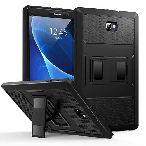 """MoKo Galaxy Tab A 10.1 Hülle - [Heavy Duty] Ganzkörper-Rugged Hybrid Stand Cover Schutzhülle mit integriertem Displayschutz für Samsung Galaxy Tab A 10.1"""" (2016) Wi-Fi/LTE T580N / T585N, Schwarz"""