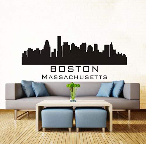 Boston skyline wandtattoo diy abnehmbare kunst wandaufkleber mural silhouette design haus dekoration für wohnzimmer 136 * 56 cm