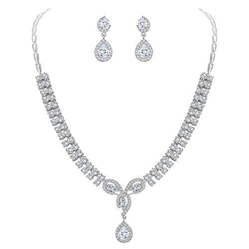 Ever Faith Full Zircon Wedding Flower Petal Teardrop Necklace Earrings Set Clear Silver-Tone