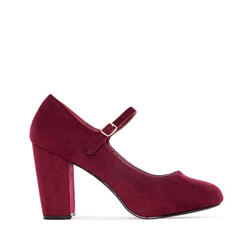 Andres Machado - AM5108 - Mary-Jane-Damenschuh Wildleder Blau Rot